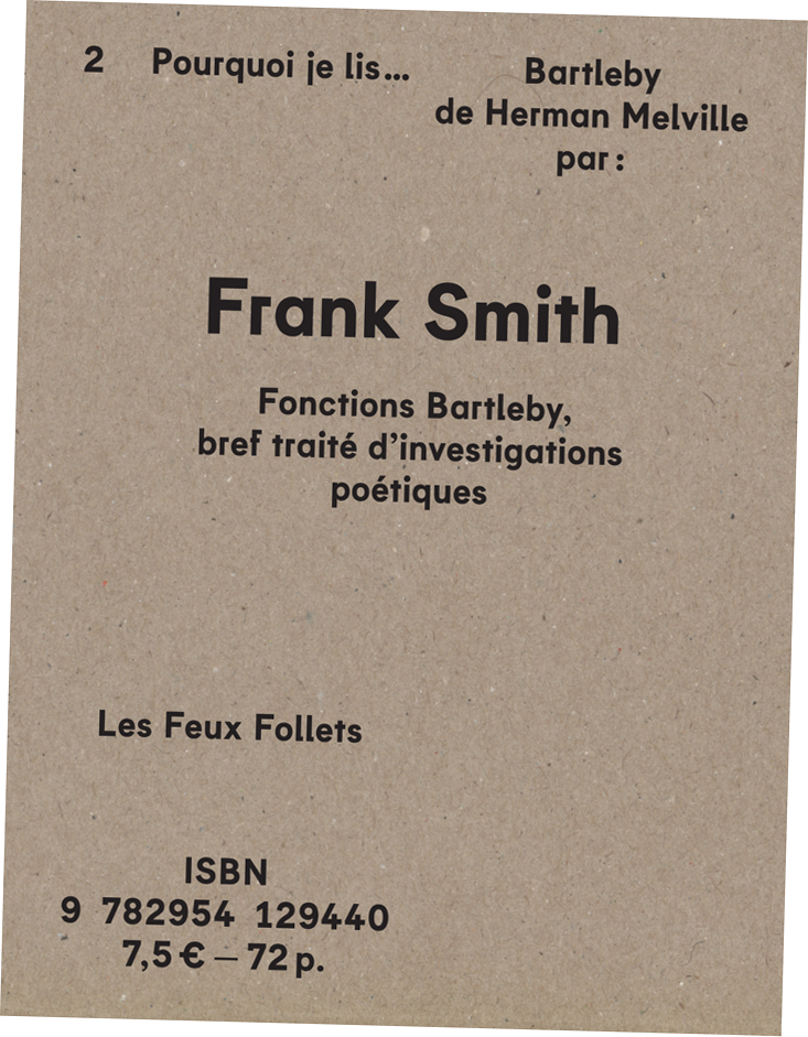 Frank Smith - Bartleby - couverture
